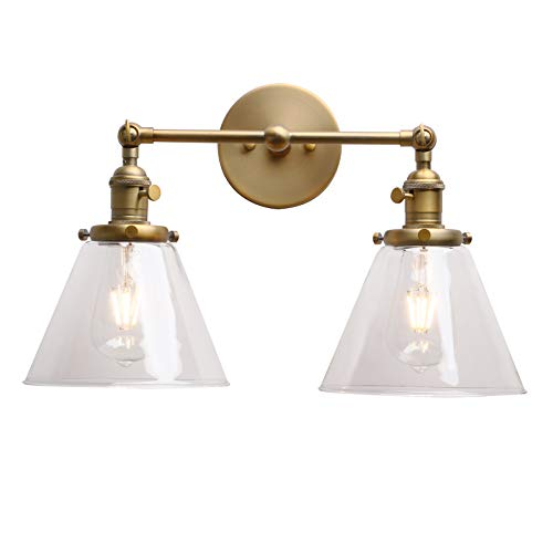 Permo Double Sconce Vintage Industrial Antique 2-lights Wall Sconces with Funnel Flared Glass Clear Glass Shade (Antique) - Double Wall Sconce