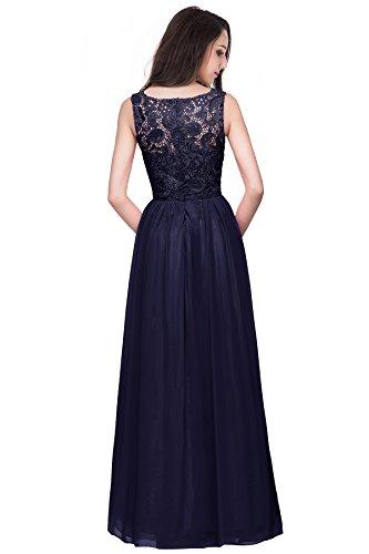 Abschlussballkleid Ball Navy Abendkleid Lang Damen Spitzenkleid Chiffon Misshow Elegant 7T0q0S