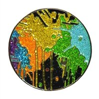 Drop Cloth Ball Marker with Crushed Crystal and Hat (Crystal Ball Clip)
