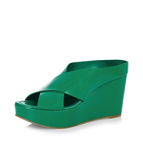 de cuña mula sobre de sandalias cruzado de EYE verde mujer cuero G99 tw6UfqRxF