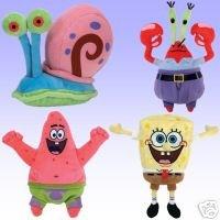 TY Beanie Babies - SPONGEBOB SQUAREPANTS Beanies ( BEST DAY EVER - Set of 4 ) (Spongebob, Patrick Star, Mr Krabs & Gary)