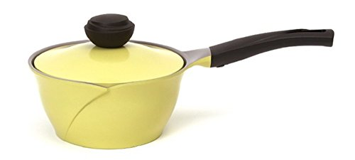 Steel 9 Piece Chili - Cheftopf Larose Premium Pot, Specialty Nonstick Dishwasher Safe Pot + Lid Cookware, The design of the roses and the eco-friendly coating.18cm, Yellow