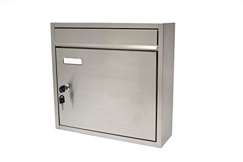 (Stetson Hardware, Stainless Steel Lockable Wall Mount Mailbox.)