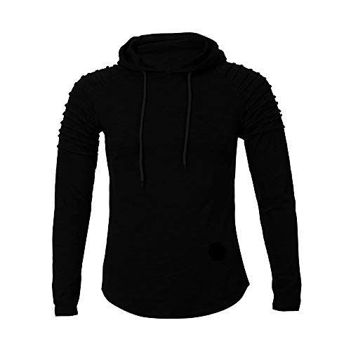 ◕‿◕ Toponly Mens Winter Pleats Slim Fit Raglan Long Sleeve Hoodie Top Blouse