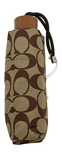 COACH F63365 SIGNATURE MINI UMBRELLA KHAKI/SADDLE ()