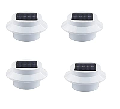 GMFive Outdoor Waterproof 4 Pack Solar Power Roof Fence Gutter Wall Lamp Light Garden Yard Wall LED Light Gutter Fence Wall Lamp&Bracket White