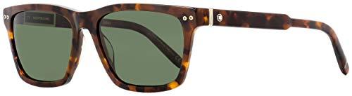 Montblanc Rectangular Sunglasses MB694S 52R Havana/Gold Polarized 56mm ()