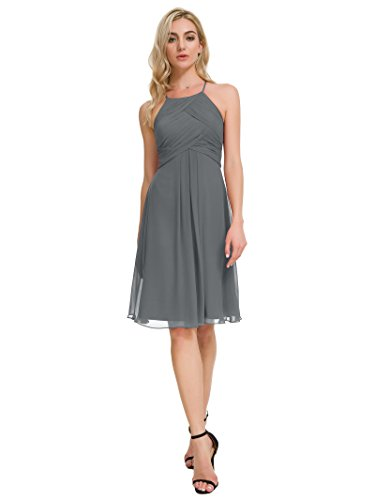 Cocktail Bridesmaids Dresses - Alicepub Chiffon Bridesmaid Dresses Halter Cocktail Dress Short Homecoming Party Dresses, Steel Gray, US14