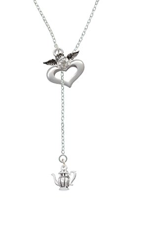 Silvertone Tea Pot - Guardian Angel Lariat Necklace, 18
