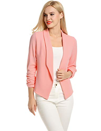 POGT Women 3/4 Sleeve Blazer Cropped Blazers for Women Work Office Blazer (XXL, Lightcoral)