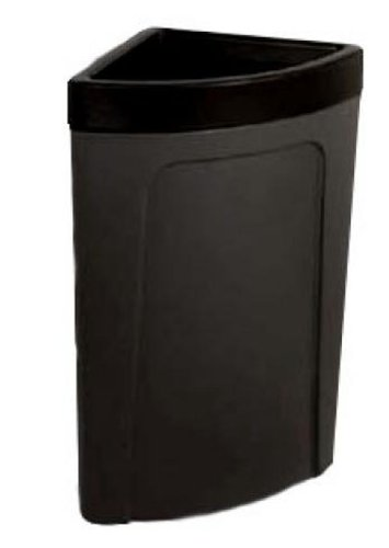 Continental 8324BK 21-Gallon Rim-Top Corner'Round LLDPE Waste Receptacle, Quarter Round, Black
