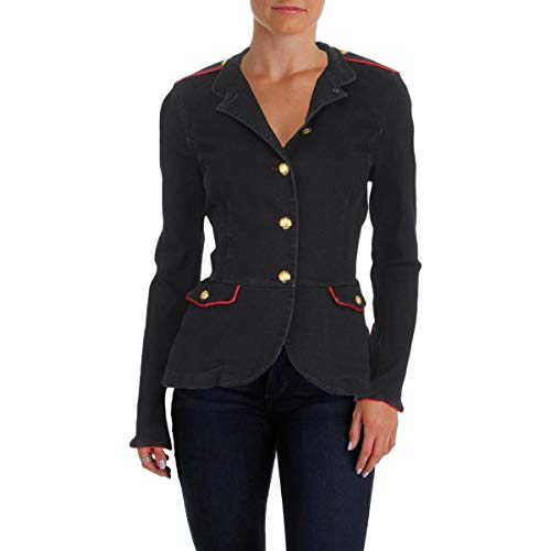 (Lauren Ralph Lauren Womens Fall Denim Peplum Jacket Black 16)