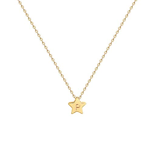 (Gold Star Pendant Necklace,Personalized Initial Necklace,14K Gold Plated Dainty Cute Lucky Rising Star Necklaces for Women,Letter P)