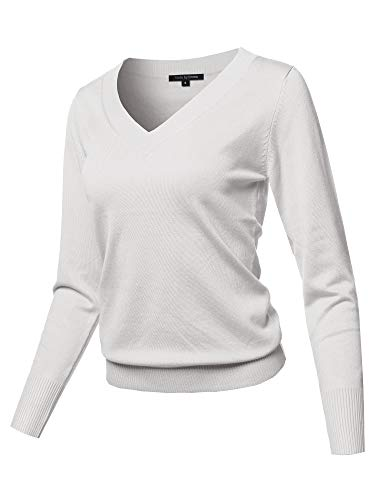 Casual Premium Quality Thick Neck Line Pullover V-neck Sweater Top Ivory M (V-neck Ivory Sweater)