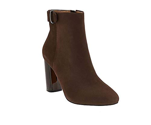 G.I.L.I. Women's Kallie Leather Block Heel Ankle Boots-Chocco-9.5 from Gili