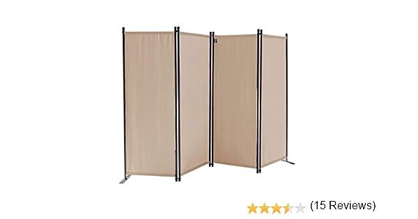 QUICK STAR Paravent 220 x 165 cm Tejido Divisor de habitación Jardín 4-Partición Pared de separación Plegable Balcón Pantalla de privacidad Beige: Amazon.es: Jardín