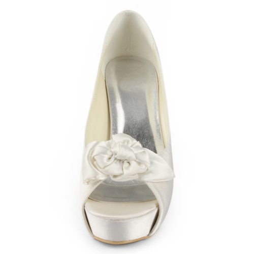 Elegantpark - punta abierta de satén mujer Blanco - Ivory