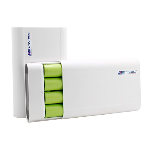 SUPEREX® 11200mAh 2-Port 5V 2.1A Power Bank External Battery Pack 4 Slot 18650 Battery Charger with LCD display for iPhone 6 Plus 5S Galaxy S6 S5 Nexus 5 HTC One