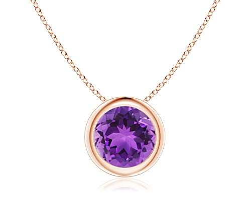 14k Yellow Gold 7mm Round Amethyst Bezel Gemstone Pendant Necklace, ()