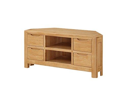 Hartselle Solid Oak Corner TV Unit - Solid Oak Plasma Corner TV Cabinet with 4 Drawers - Finish: Oak - Living Room Furniture