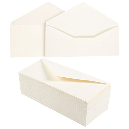 100 Pack #10 Cotton Business Envelopes - Value Pack V-Flap Envelopes - 4 1/8 x 9 1/2 Inches - 100 Count, Ivory by Juvale