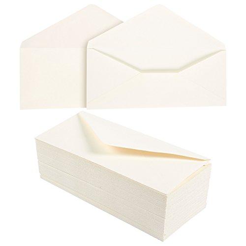 100 Pack #10 Cotton Business Envelopes - Value Pack V-Flap Envelopes - 4 1/8 x 9 1/2 Inches - 100 Count, (Ivory Business Envelopes)