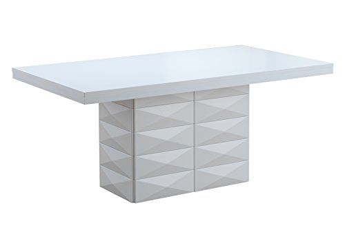 Kings Brand Milan White Finish Wood Modern Rectangular Dining Room Table