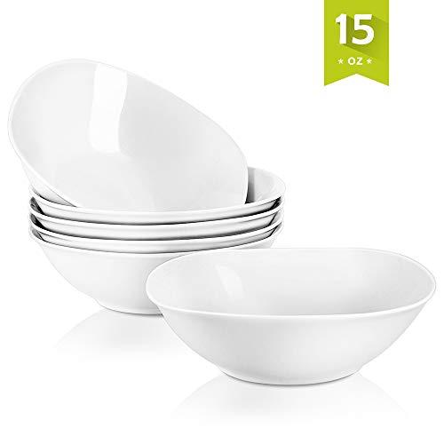- Malacasa 6-Pack Bowls Set 14.8 oz Soup Bowls Set, 7-inch Porcelain Cereal Bowls Dessert Rice Pasta Bowl Set, Ivory White