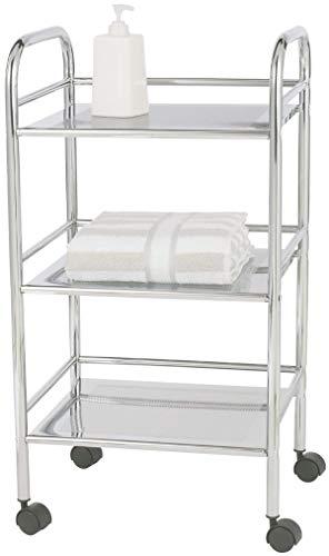 Chrome Trolley - WENKO 12285100 Exclusive Household and Bathroom Trolley - Mobile Bathroom Rack, 3 Shelves, Metal - Steel, 16.1 x 29.5 x 12.6 Inch, Chrome