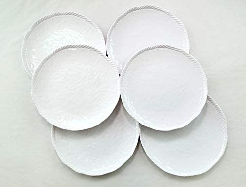 6 White Nautical Rope Melamine Dinner Plate 9 Inches 6 Pack