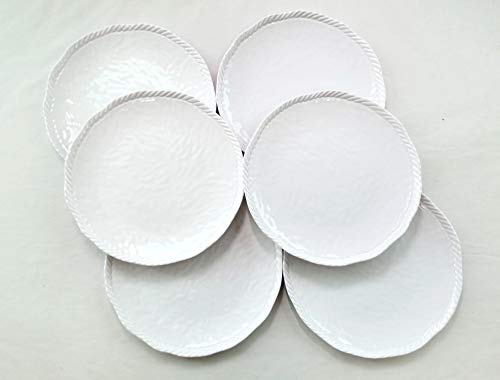 White Nautical Rope Melamine Dinner Plate 9 Inches 6 Pack (6)