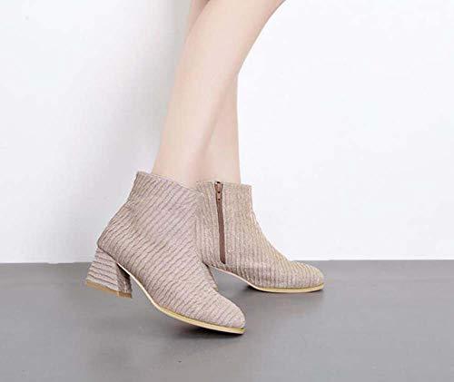 Martin Zapatos Tela 35 Casual 6cm Botas Mujer Cortas Botines Eu Grueso Tamaño 39 Botín Corte vqwR1HFE