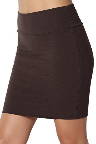 TheMogan Junior's Stretch Cotton Jersey Lined Bodycon Tube Mini Skirt Brown L