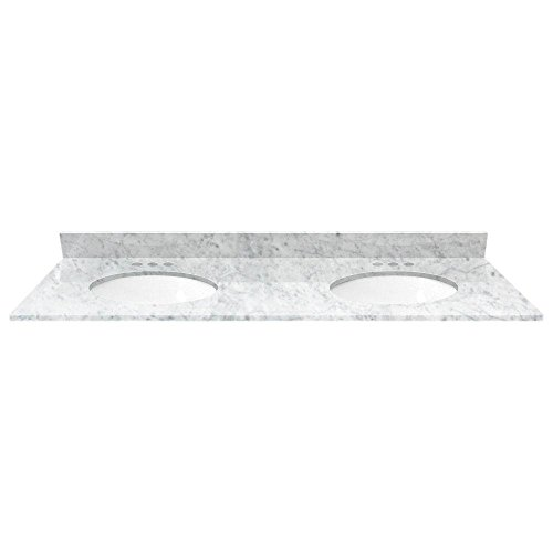 White Carrara Marble 61 in. Double Basin Vanity Top with White Basin