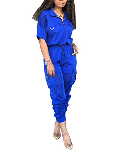 Katblink Women Two Piece Outfits - CasualShort SleeveWindbreaker Pullover Hollow Out Patchwork Pants SetTracksuit Blue S (Hollow Out Pullover)