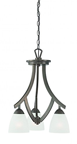 Thomas Lighting TK0004715 Charles-Three Light Chandelier, Oiled Bronze Finish with Etched Glass 3 Oiled Bronze Finish