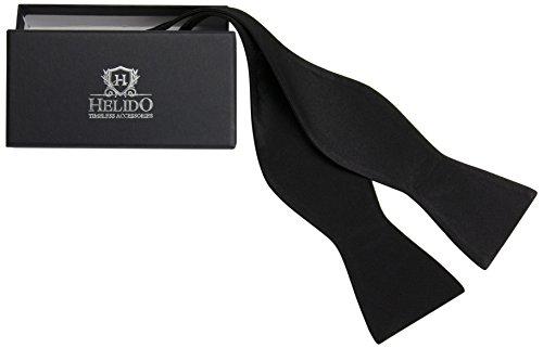 HELIDO Elegante Seiden-Fliege zum selber-binden für Herren, verstellbar + Geschenkbox - perfekt zu Anzug und Hemd (Schwarz)