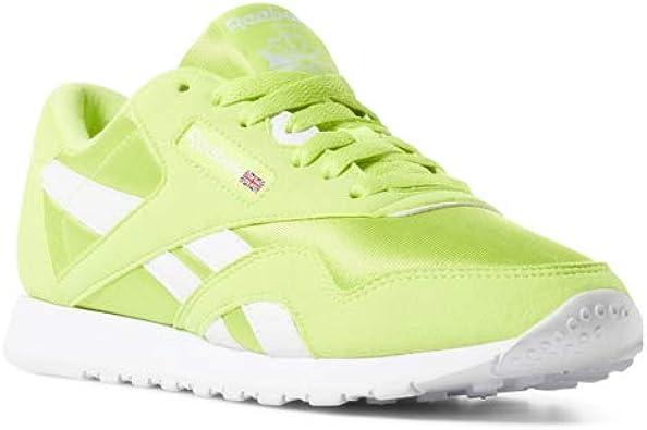 Reebok Classic Nylon Sneaker, neon LimeWhite, 4.5 M US