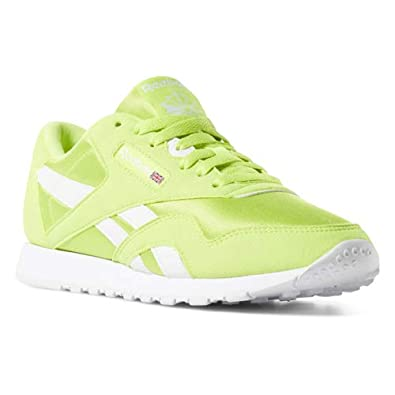 Reebok Classic Nylon Sneaker, neon LimeWhite, 6.5 M US