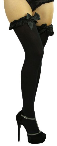 ToBeInStyle Women's Thigh High W/Ruffle Trim Top & Bow - One Size - Black W/Black Satin Bow Detail
