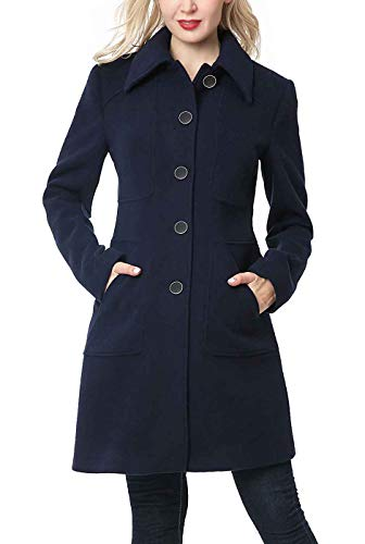 BGSD Women's Anna Wool Blend Walking Coat Navy Plus Size 0X XX-Large
