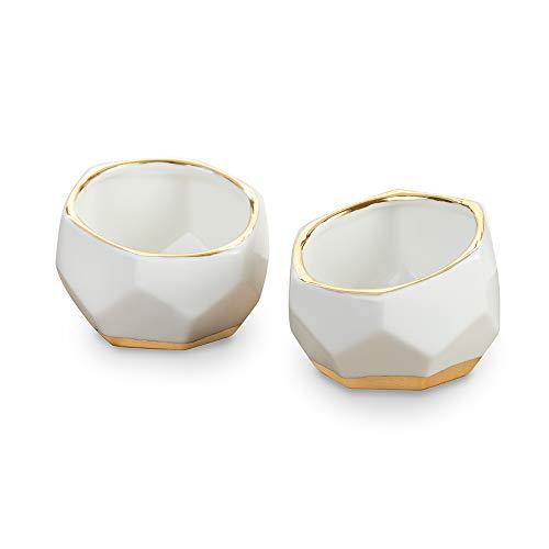 (Kate Aspen 23216NA Geometric Ceramic Planters Decorative Bowls (Set of 2) Trinket Dish, Home, Room, Desk, Table Décor, One Size, White)