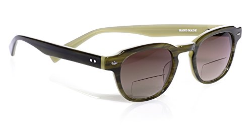 eyebobs Bench Mark Reader Sunglasses, Green Khaki, Reader Sunglasses with Bi-Focal lens SUPERIOR QUALITY – because your eyes deserve the good - Sunglasses Scojo