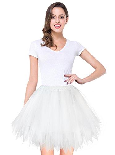 V28 Women's Teen's 1950s Vintage Tutu Tulle Petticoat Ballet Bubble Skirt (Plus Size (US: 10-18), White)
