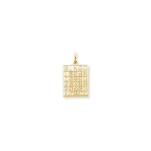 10K Yellow Gold Solid Bingo Card Charm (25mm x (14k Gold Bingo Card Charm)
