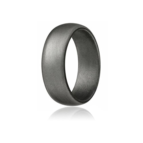 ROQ Silicone Ring For Men Affordable Silicone Rubber Band, Beveled Metallic Platinum - Size (Lifetime Platinum Rings)