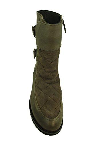 Stepp echt Leder Mix Stiefelette Boots von XYXYX greige grau taupe