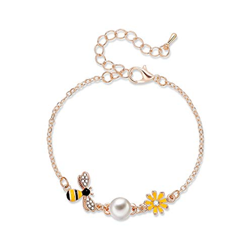 - Wrist Decoration Appeal Crystal Butterfly Bee Anklet Bracelets Imitation Pearl Flower Bracelets& Bracelets Women Love Heart Geometric CZ Band Jewelry