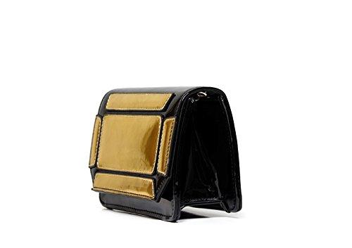 51b87afe55a7d ... Sandro Ferrone Tasche Farbe mit eingelegtem A2 ASTERIX AI17 schwarz und  gold