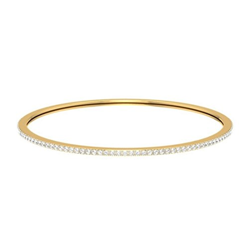 14 K Or jaune, 2.12 CT TW Round-cut-diamond (Ij| SI) Bangle-bracelets